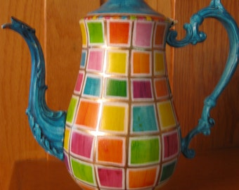 Decorative Multi Colored Silver Plated Teapot - Hand Painted