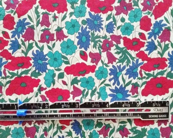 "Liberty London Poppy and Daisy N 10""x26"" Fat Eighth Red Blue Lawn Fabric"