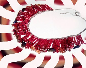 Red velvet, long high quality fashionable handmade red necklace, exclusive unique gift for her red velvet color,gift for Mom, gemstones bead