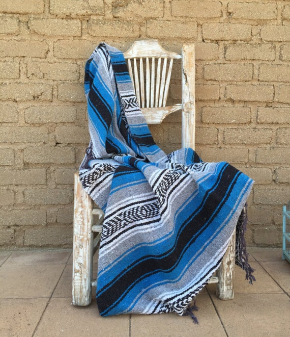 Mexican Beach Blanket: Mexican Blanket Bahama Blue Stripes Soft Warm By