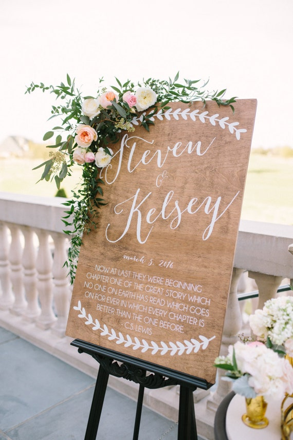 Wedding welcome sign quote wooden by