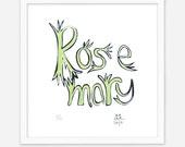SILKSCREEN PRINT: 'Rosemary', Illustration, Art, Hand-made, Original, Limited Edition