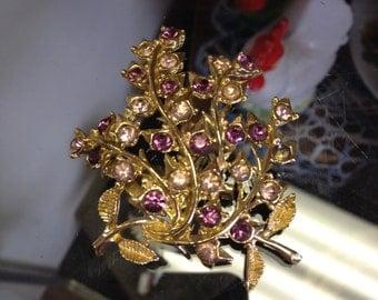 Vintage Signed Coro Purple Flower Brooch