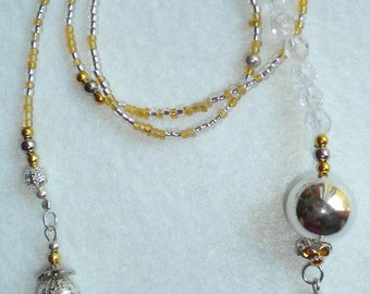 Beaded Bookmark - Silver and Gold