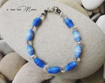 Bracciale luminoso con perle di carta azzurre - Bright blue bracelet with pearl paper- Perle di carta - Fatto a mano - Made in Italy