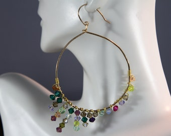 Borealis Gold hoop crystal earrings