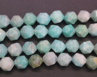 Faceted Amazonite beads, Natural Faceted Amazonite Nugget Beads,6mm 8 mm 10mm 12mm, 15 inches per strand