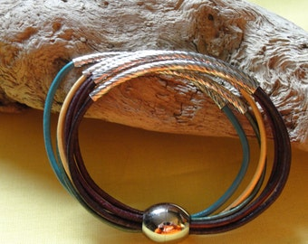 Multi Strand Leather Bracelet with Silver Plated Tube Beads and Magnetic Closure