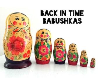 Nesting Doll. Vintage Nesting Doll. Semenov Russian Doll. Wooden Nesting Doll. Matryoshka Doll. Beautiful Rare Purple Colors. Set of 6.