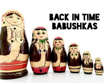 Snow Maidens Nesting Dolls, Winter Nesting Dolls from Yakut ASSR (now - Sakha (Yakutia) Republic), 1970s Russia. Holiday Matryoshka Dolls.