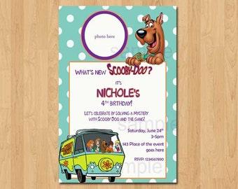 Scooby Doo Invitation. Scooby Doo Birthday Invitation. Scooby Doo Party. Mystery Machine Invitation. Digital (you print)