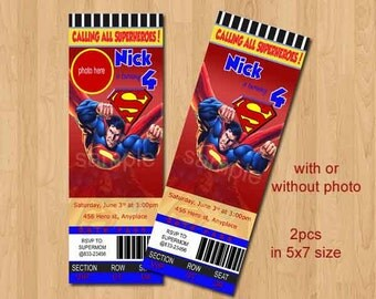 Superman Invitation. Superman Birthday Invitation. Superman Printable. Ticket Style. Digital (you print)