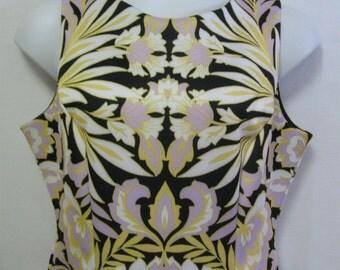 "Vintage Misses XL Colorful Career Dress - Bust 46"" Waist 38"" Hips 48"" Length 41"" - Stretchy.Full Zipper.Semetrical Print.Lined Dress XL"