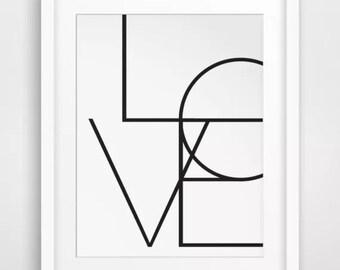 Framed Art Print - Love Typography - 35x28cm