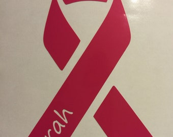Breast Cancer, Window decal, Breast Cancer Awareness , Pink ribbon, window decal, personalized Pink Ribbon, vinyl decal, Cancer Ribbon, Yeti