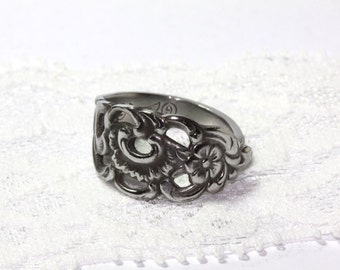Size 8  Spoon ring, silver plated