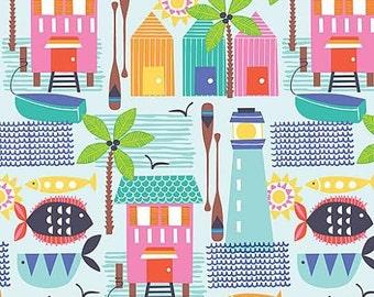 Blend - Sunsational - Maud Asbury - Cabana Houses - Blue - 101.117.01.2 - House - Beach house - Lighthouse - Summer - Fish - Pink