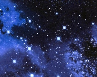 Timeless  Treasures - Space - c9924 - Galaxy -Blue - Stars - Universe - Novelty - One More Yard