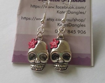 Silver skull earrings, pink skull earrings,  skull earrings, skull pendant,  pink earrings