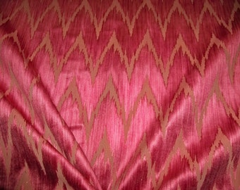 CLARENCE HOUSE CASTELLO Aragonese Flame Stitch Strie Cut Velvet Fabric 3 Yards Red