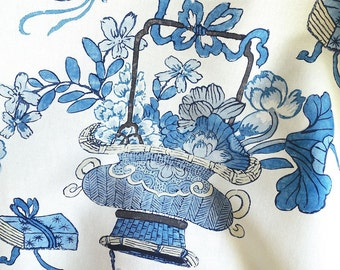 SCALAMANDRE CHINOISERIE SHANGHAI Blossoms Toile Fabric 10 Yards China Blues
