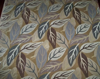 CLARENCE HOUSE LAURELWOOD Foliage Leaves Linen Velvet Fabric 10 yards Brown Gray Beige