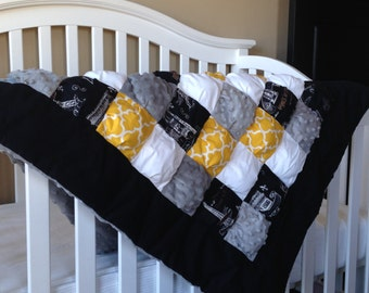 Gender Neutral Baby Puff Quilt- Paris Print Black, Yellow and Grey Baby