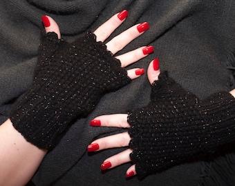 Black crochet fingerless gloves valentine gift Wrist warmer fingerless mittens handknit gloves winter accessories winter gloves woman gloves