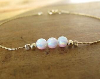 Opal bracelet, opal ball bracelet, opal gold bracelet, opal jewelry, tiny bar bracelet, opal bead bracelet, white opal bracelet,dot bracelet