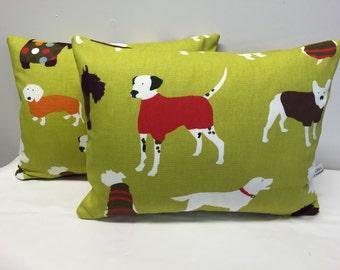 Dog Cushion, Lime Green Dog Design Cushion, Dog Pillow