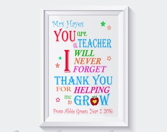 Personalised Thank You Teacher Gift Word Art A4 Print