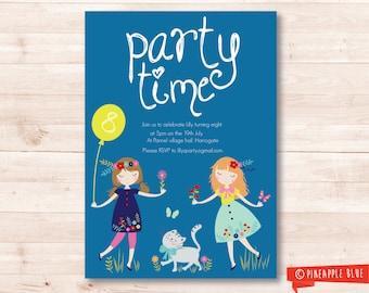 Printable party invitation | Girls invitation | Birthday invitation | Customized part invite | Floral kids invite | Pretty girls invitation