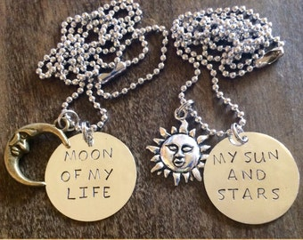 Game of Thrones moon of my life/my sun and stars necklace set