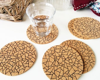 Cork coasters, Coasters cork, Round cork coasters, Triangle print, Coaster set, Geometric, Housewarming gift, Ink drawing, Set of 6 coasters
