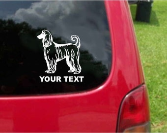 Set (2 Pieces)   Afghan Hound Dog  Sticker Decals with custom text 20 Colors To Choose From.  U.S.A Free Shipping