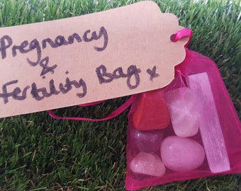 Pregnancy Crystals, IVF Crystals and Fertility Crystals, Crystal Tumblestone Bag (large)  Pregnancy Crystal Kit, Pregnancy Crystal Bag
