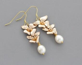 White Freshwater Pearl Gold Orchid Earrings / 18K Gold Vermeil Ear Wires / Flower Dangle Earrings / Bridal Earrings