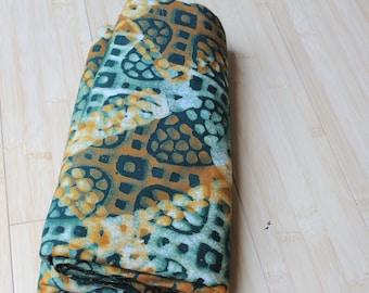 Handmade Fair Trade Green, Orange & White African Batik Fabric 4 yards