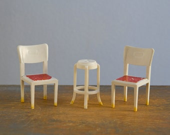 Pair of Marx Kitchen Chairs and Stool - 1:16 / 3/4 Inch Scale Vintage Plastic Dollhouse Furniture