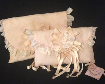 Vintage Cosmetic Bag Set Shabby Pink Toiletry Bag with Vintage Lace Ribbon and Rosette 1950s Fabric Make up Organizer Cloth Bags Shabby