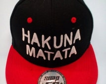 Snapback Hat Hip Hop, HAKUNA MATATA red/black cap, hat, embroidery