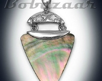 ON SALE Sterling Silver Abalone Mother of Pearl Arrowhead Pendant