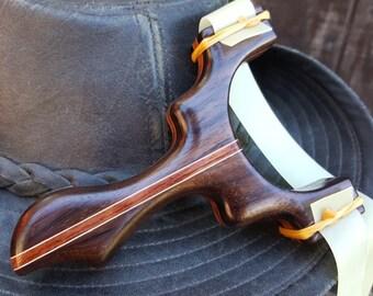 Custom Rosewood & Bubinga Slingshot - handmade from exotic hardwoods