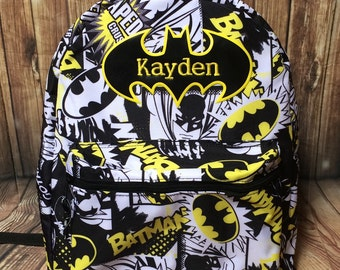 Personalized Batman school backpack with any name 18 inches comic DC school backpack name