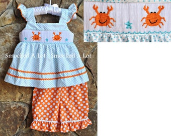 Smocked Crab Beach Ruffled Shorts Set- Aqua Blue/Orange Polka Dots