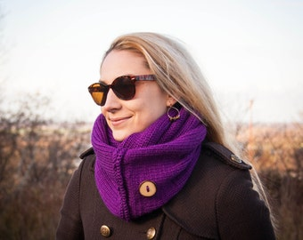 Violet Hand Knit Neckwarmer With Handmade Wooden Button / Purple Fall Winter Neckwear /Double Wrapped Violet Shawl /Winter Fashion Gift Idea