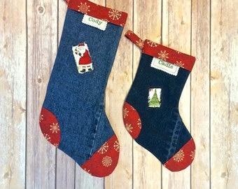 Christmas stocking, Denim stocking, Country Christmas Stocking, Upcycled Denim by 8th Day Encore