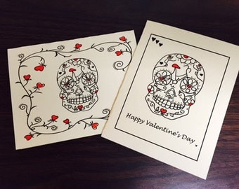 Set of 4 Sugar Skull Bicycle Valentines Day Cards