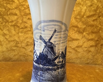 Blue Delft Handpainted Vase
