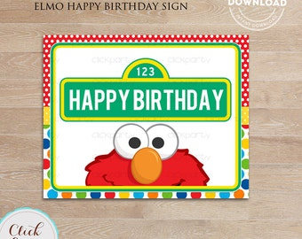 Elmo Happy Birthday Sign,  Party Printable Sign, Door Sign, Birthday party decorations, Party supplies INSTANT DOWNLOAD
